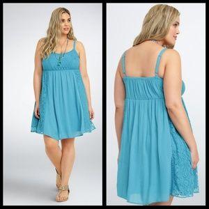 Torrid 1X Blue Lace Gauze Sundress